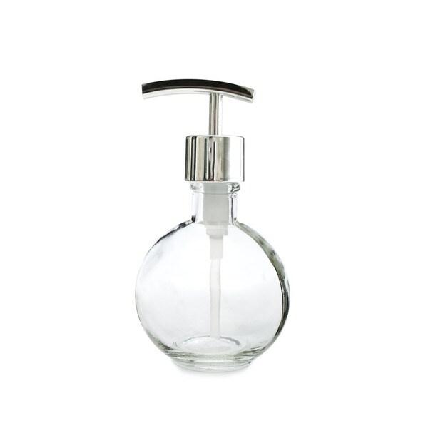RAIL19 Moon Round Glass Soap Dispenser w/ Chrome Modern Pump