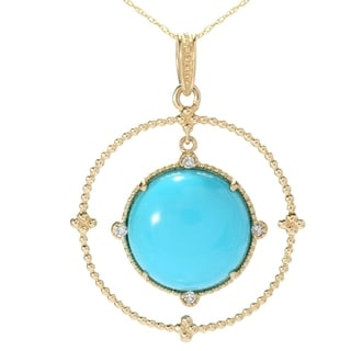 Michael Valitutti 14K Gold Sleeping Beauty Turquoise & Diamond Pendant