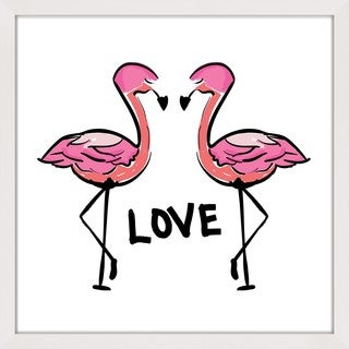 Marmont Hill - 'Love Flamingos' by Shayna Pitch Framed Painting Print
