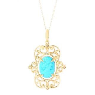 Michael Valitutti 14K Gold Carved Sleeping Beauty Turquoise Cameo Pendant