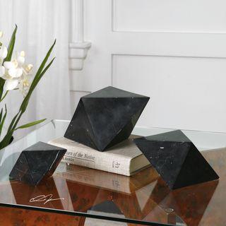 Uttermost Rhombus Black Marble Sculpture (Set of 3)