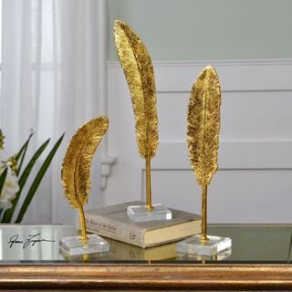 Uttermost Feathers Gold Sculpture (Set of 3)