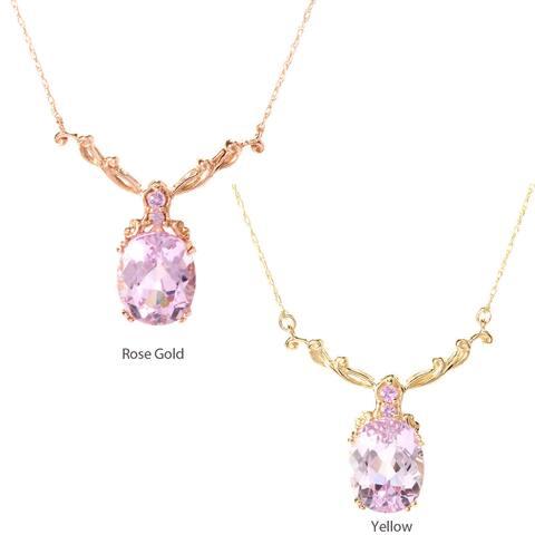 Michael Valitutti 14K Gold Kunzite & Pink Sapphire Necklace