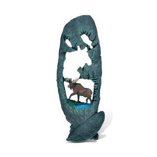 Puzzled The Wild Green Leaf/ Moose Resin and Stone Decorative Sculpture