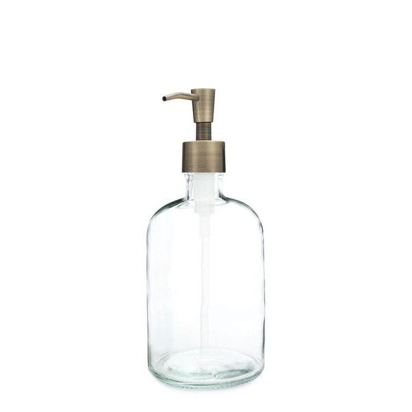 RAIL19 Clear Glass Soap Dispenser w/ Brass Pump