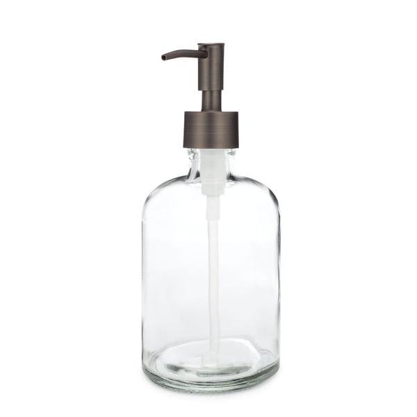 RAIL19 Clear Glass Soap Dispenser w/ Antique Bronze Rustic Pump