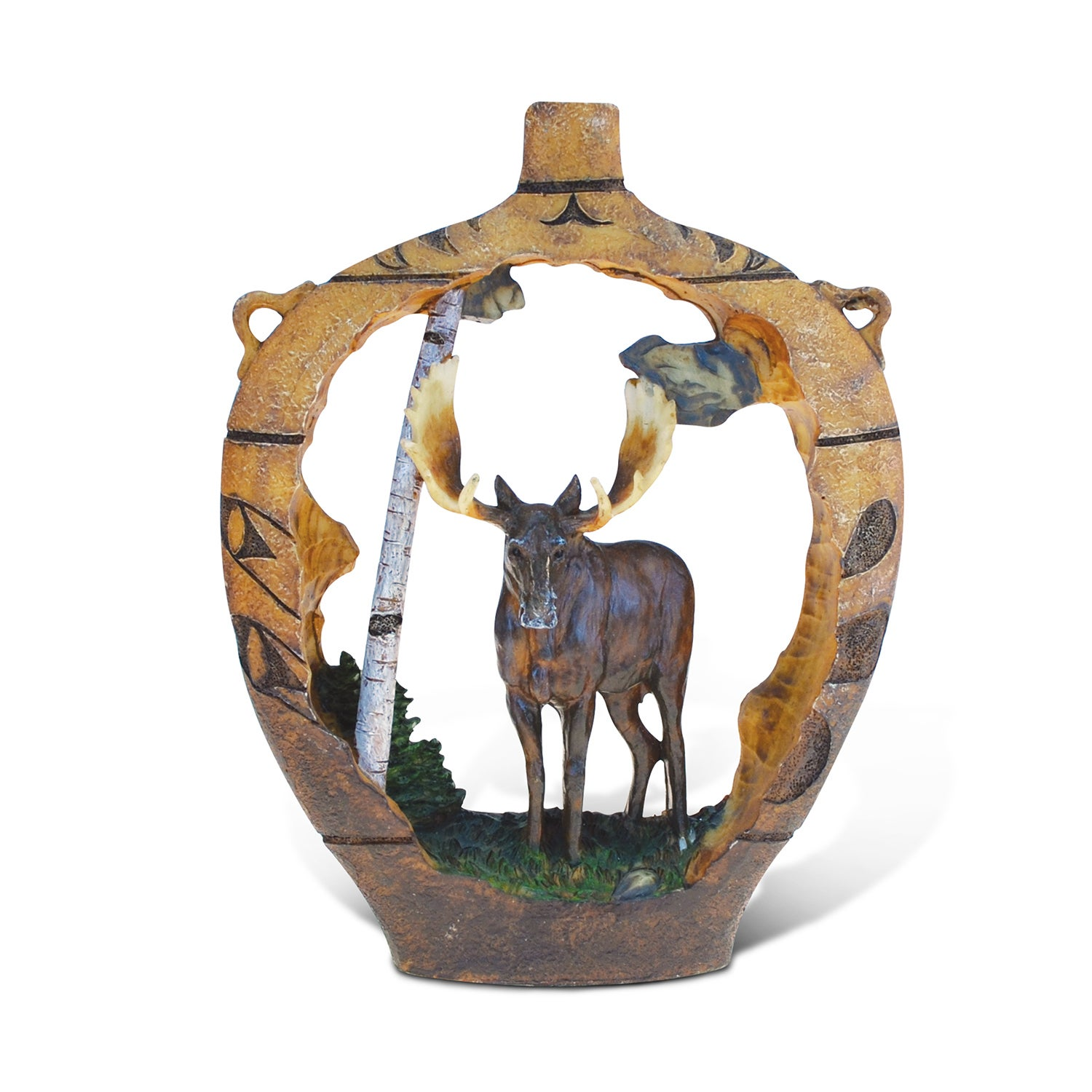 Puzzled The Wild Collection Native Pottery Moose Decor Sculpture Brown