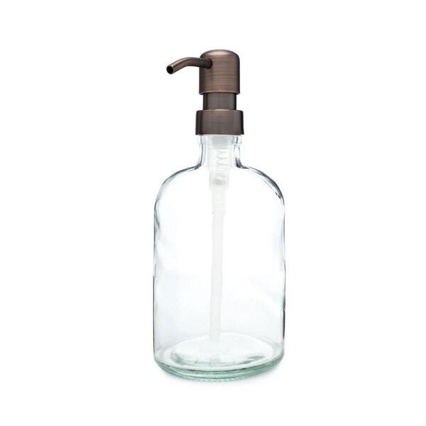 RAIL19 Clear Glass Soap Dispenser w/ Farmhouse Bronze Pump