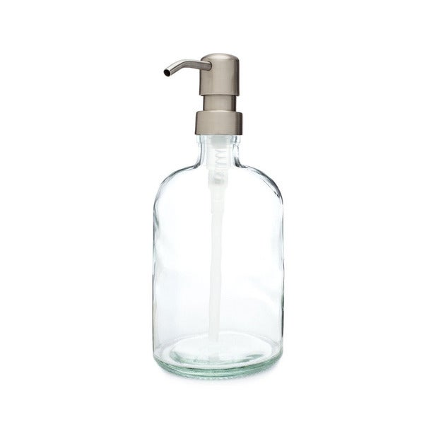 RAIL19 Clear Glass Soap Dispenser w/ Farmhouse Stainless Pump