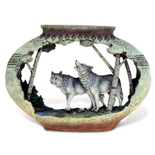 Puzzled The Wild Resin and Stone Wolf Native Pottery Decor