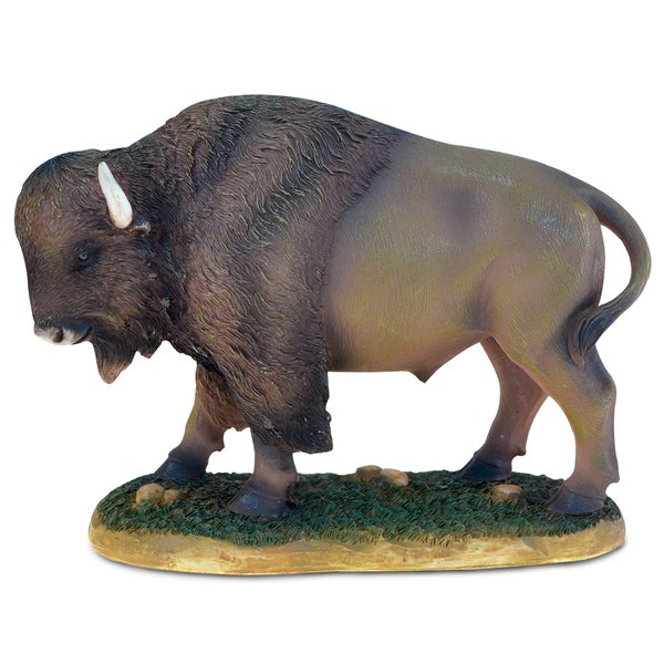 Puzzled The Wild Brown Resin and Stone Buffalo Decor