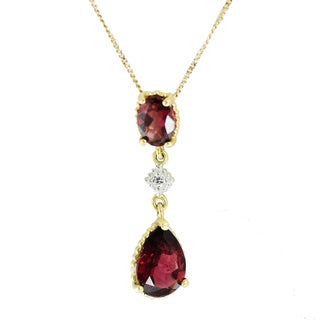 One-of-a-kind Michael Valitutti Pear Rhodolite and Diamond Pendant