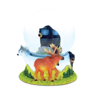 Puzzled Stone and Resin Black Bear Snow Globe