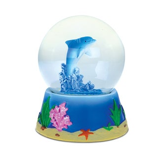 Puzzled Resin and Stone Dolphin Snow Globe