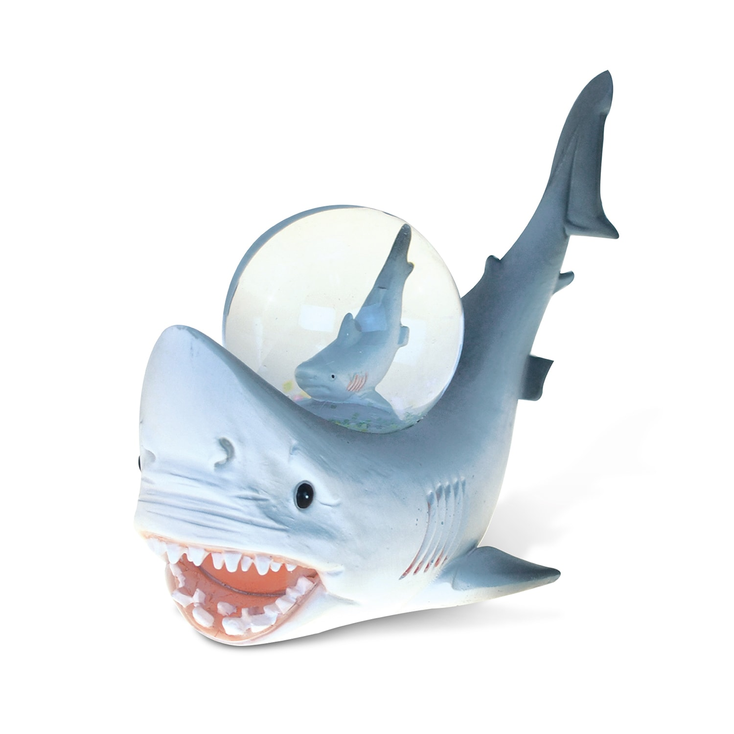 Puzzled Resin and Stone Shark Snow Globe (Ocean Life), Multi