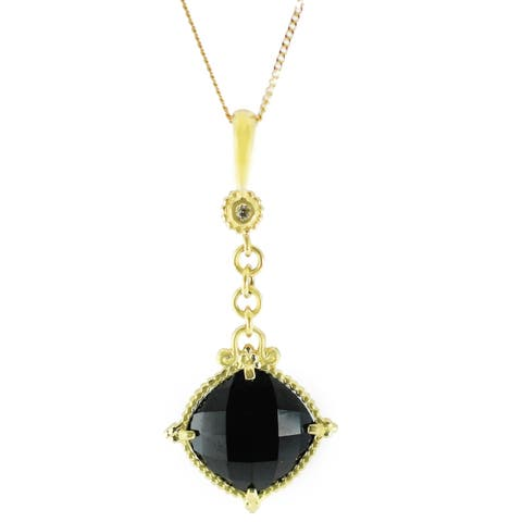 Michael Valitutti 14K Gold Black Onyx and Diamond Pendant