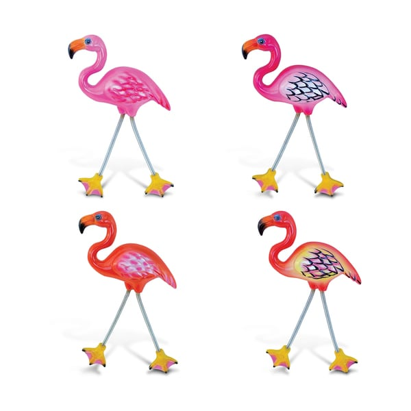Puzzled Pink/Orange Plastic Flamingo Springy Magnet (Pack of 4)