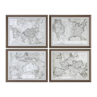 Uttermost World Maps Framed Prints (Set of 4)
