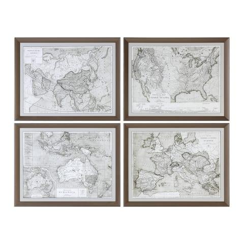 Uttermost World Maps Framed Prints (Set of 4)