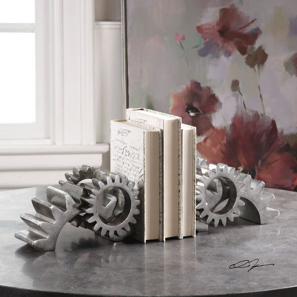 Uttermost Gears Silver Bookends (Set of 2)