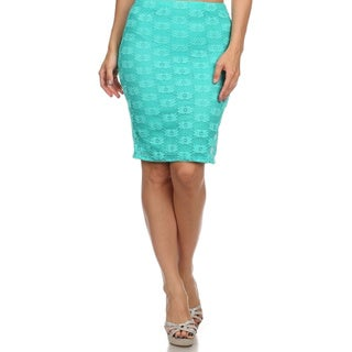 MOA Collection Women's Mint Lace Skirt Large Size in White (As Is Item)