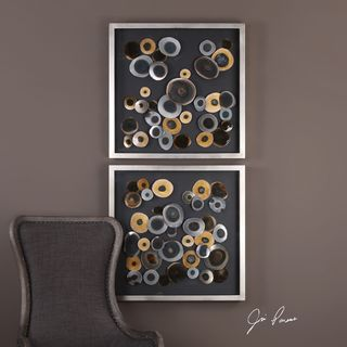 Uttermost Discs Wall Art Squares (Set of 2)