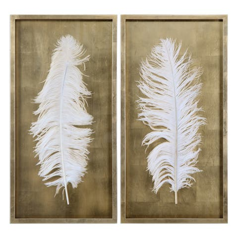 Uttermost White Feathers Gold Shadow Box (Set of 2)