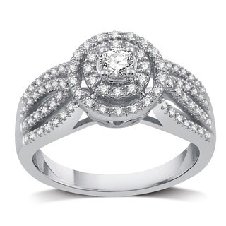 Platinaire 1/2 CTTW Diamond Halo Engagement Ring (I/J- I2)