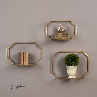 Uttermost Lindee Gold Wall Shelves (Set of 3)