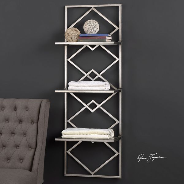 shop uttermost silvia silver wall shelf free shipping today rh overstock com silver wall mounted shelves silver floating wall shelves
