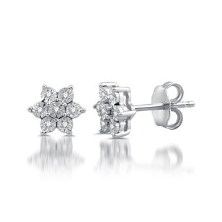 Sterling Silver Diamond Accented  Snowflower Stud Earrings (I/J- I3)
