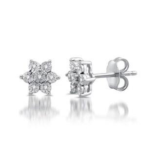 Sterling Silver Diamond Accented Snowflower Stud Earrings (I/J- I3)