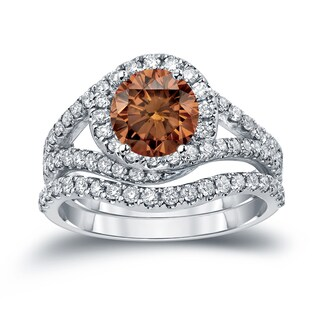 Auriya 14k Gold 1 7/8ct TDW Round Cut Brown Diamond Halo Bridal Ring Set (Brown, SI2-SI3)