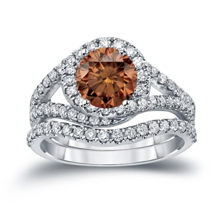 Auriya 14k Gold 1 7/8ct TDW Round Cut Brown Diamond Halo Bridal Ring Set (Brown, SI2-SI3)