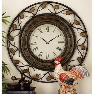 Gold/Brown Metal 36-inch Decorative Iron Wall Clock