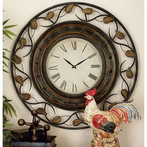 Rustic 36 Inch Round Wall Clock with Fretwork Design by Studio 350