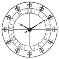 Adelie Grey Metal Fleur De Lis Wall Clock