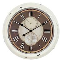 Antoinette Cream Metal Round Wall Clock