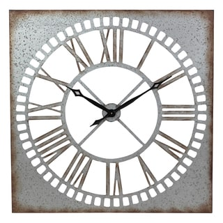 Ashbury Square Silvertone Metal Wall Clock