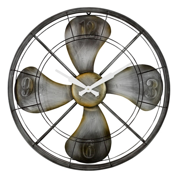 Ayton Fan Grey Metal Wall Clock