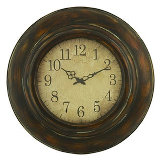 Cardiff Green and Brown Metal Round Wall Clock