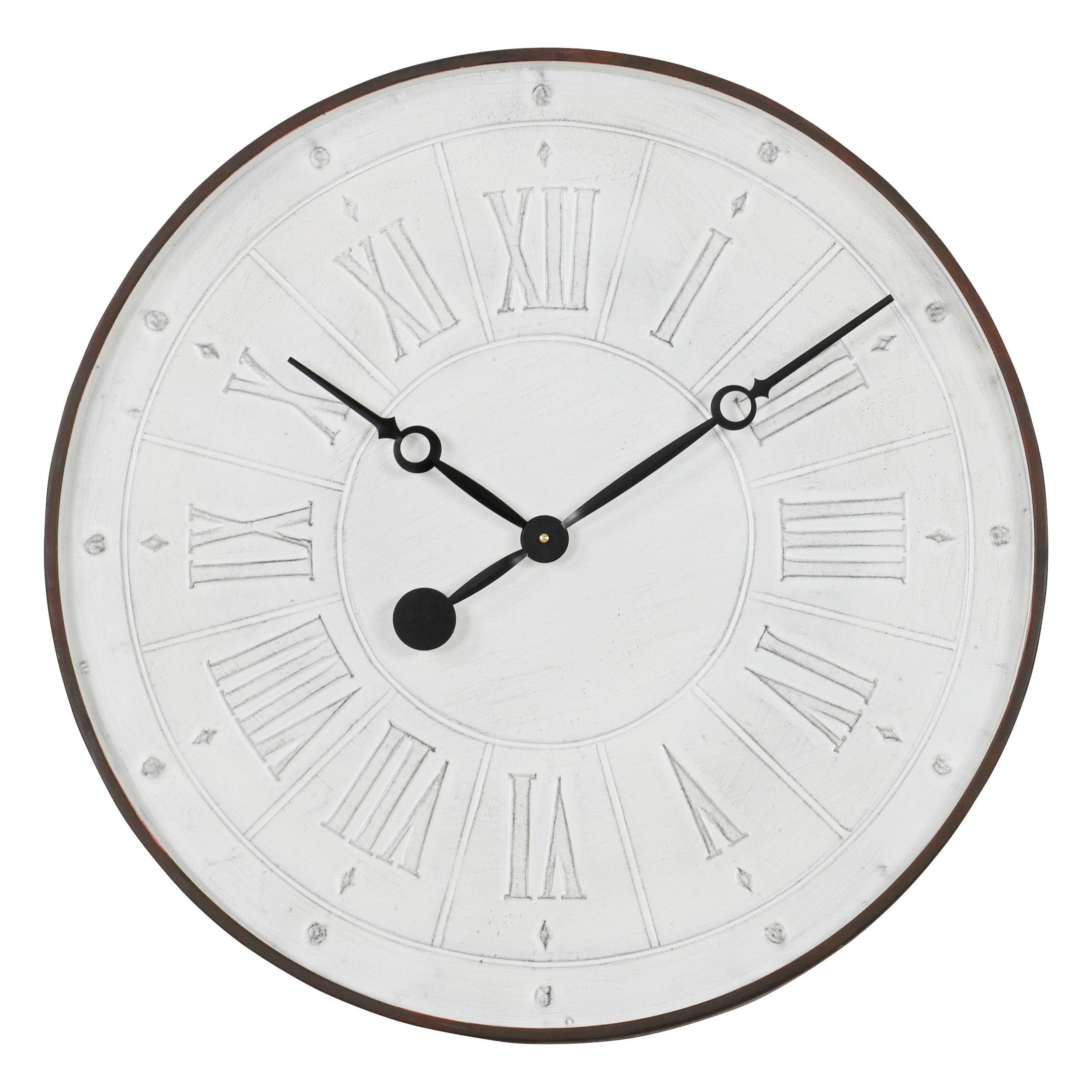 Coralie White Metal Wall Clock (Coralie White Wall Clock)