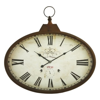 Daphne Brown Metal Oval Wall Clock