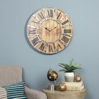 "Edmonson Black/Gold-tone/Brown Metal Wall Clock - 24""H x 24""W x 1.5""D"