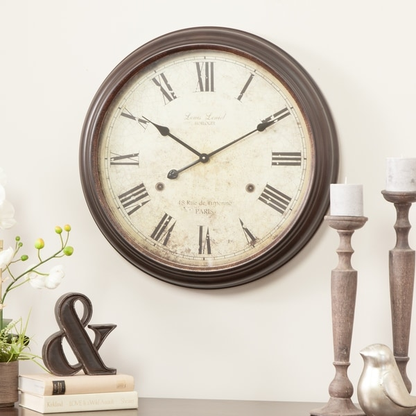 Emmaline Brown Metal Round Wall Clock