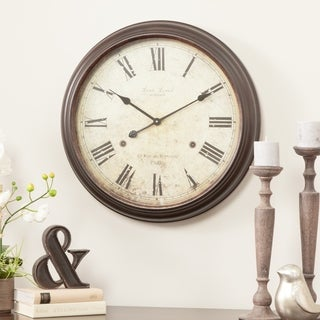 Emmaline Brown Metal Round Wall Clock
