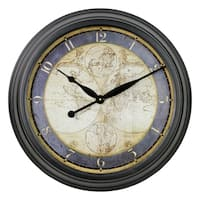 Ethan Old Map Black/Gold Metal Wall Clock