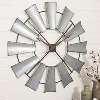 Farmhouse Silvertone Metal Windmill Wall Clock