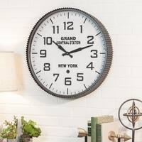 Grand Central Station Grey Metal Wall Clock