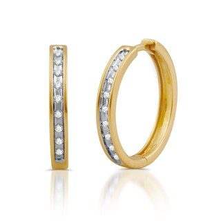 Yellow Gold Plated Sterling Silver Diamond Accented Large Round Hoop Earrings (I/J- I3)